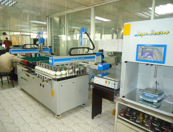 Robotic Pipetting Machine: At Simtex Industries Limited shades are developed through the Robotic Pipetting Machine to avoid the human errors and for more accuracy and reproducibility.